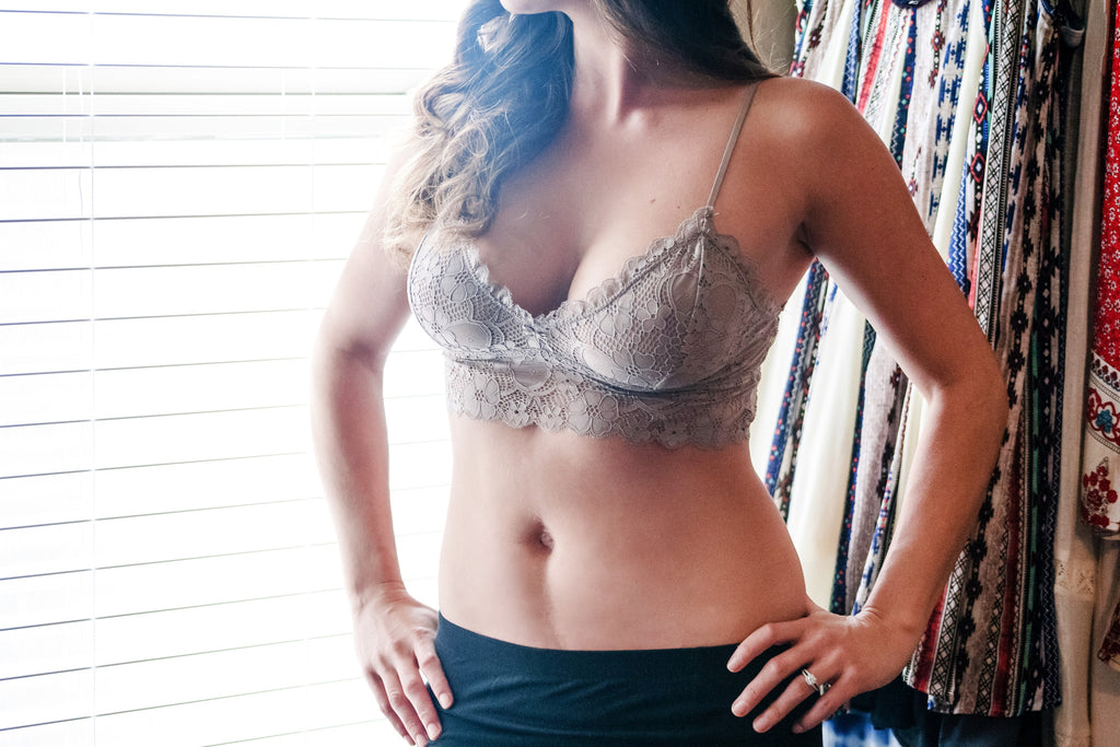 Skinny Strap Floral Lace Bralette - Thread Affair