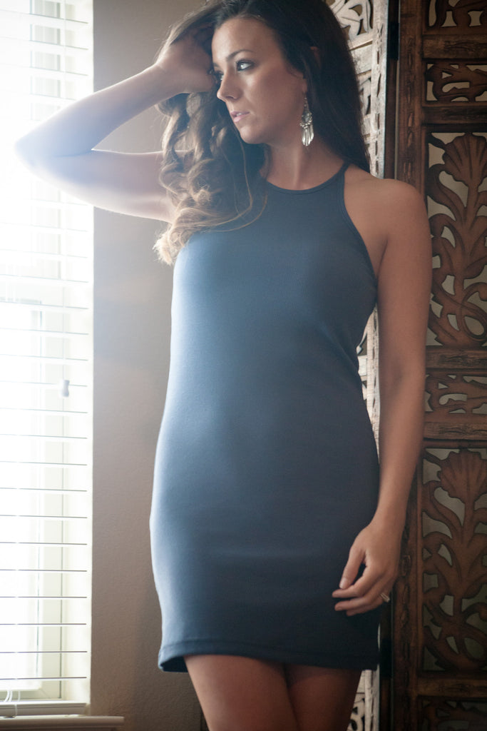 Ribbed Halter Basic Dress - Thread Affair