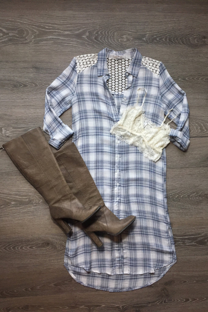 Fall Fever Crochet Flannel Button Up Dress - Thread Affair