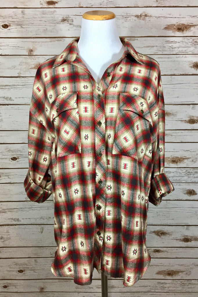 Fall into you Boyfriend Flannel Shirt - Thread Affair