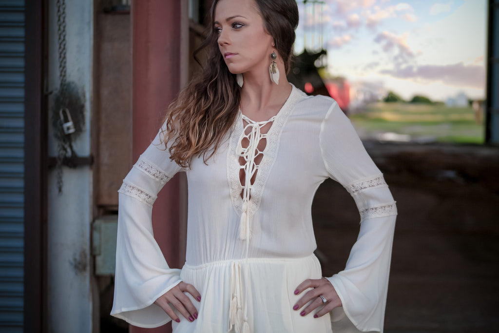 Heavenly Dreams Lace up Romper - Thread Affair