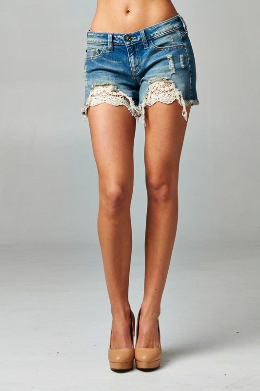 Hint of Lace Denim Shorts - Thread Affair