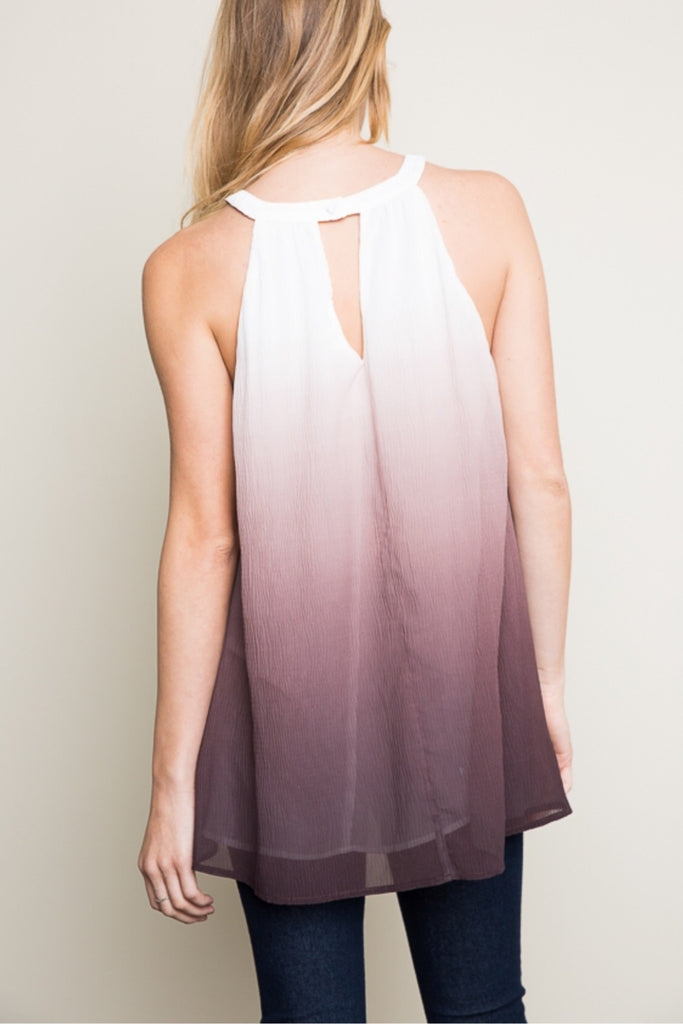 Faded Dreams Ombre Key-Hole Halter Tank Top - Thread Affair