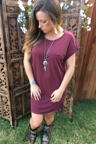 Soft Wash Pocket Tee Basic Top-Wine