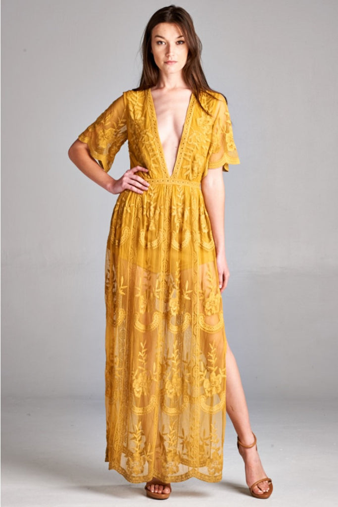 Into the night Lace Maxi Dress-Mustard - Thread Affair