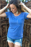 Soft Wash Pocket Tee Basic Top-Blue - Thread Affair