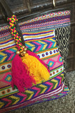 Beaded Shoulder Tote Bag with Tassel - Thread Affair