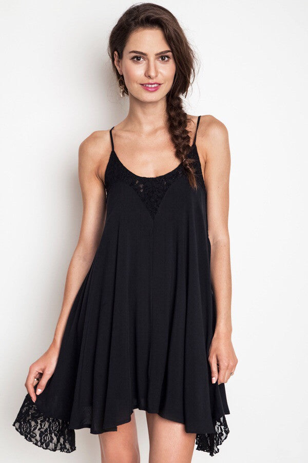 Chantilly Lace Dress-Black - Thread Affair