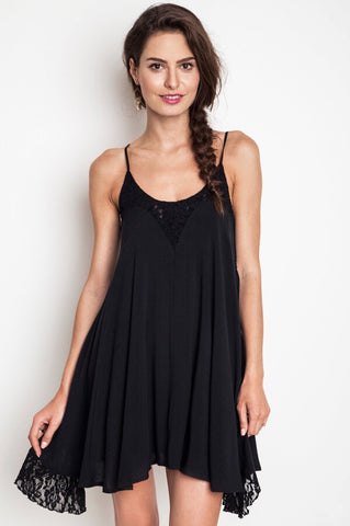 Into the night Lace Maxi Dress-Black