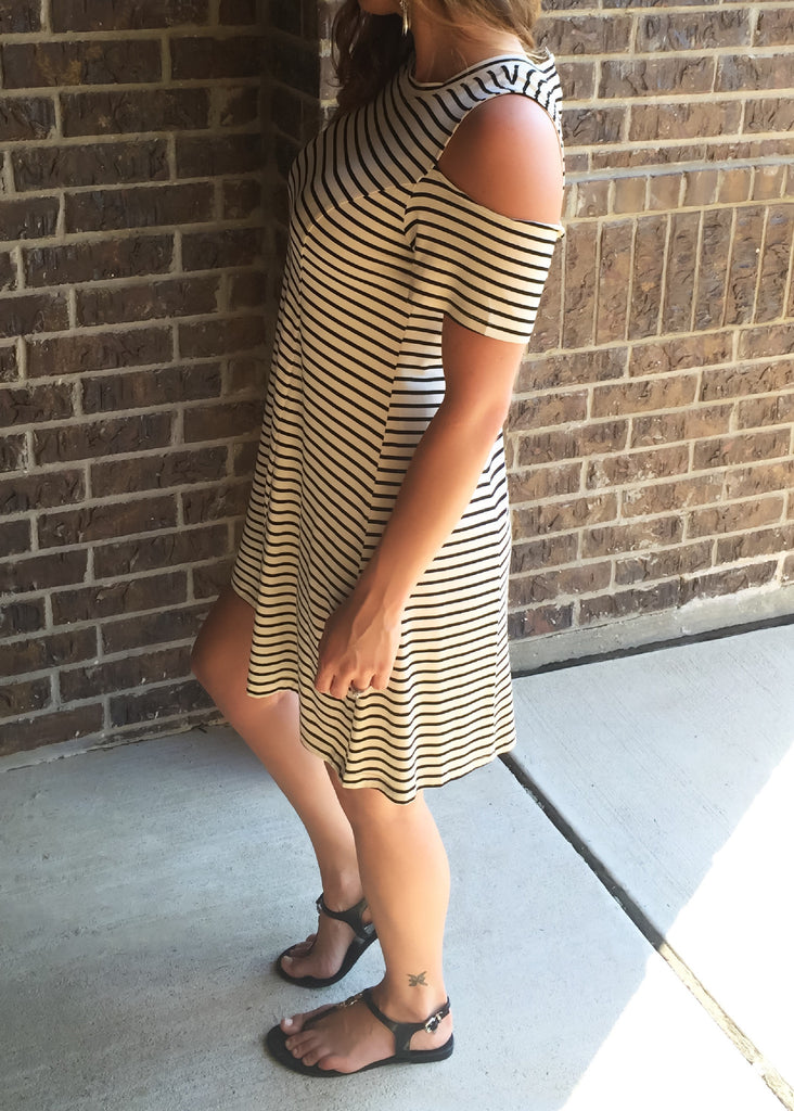 All About the Stripes cold shoulder Dress - Thread Affair