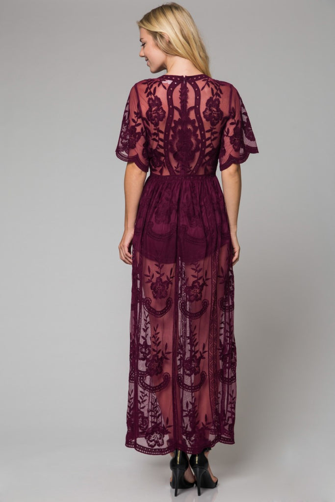 Into the night Lace Maxi Dress- Maroon - Thread Affair