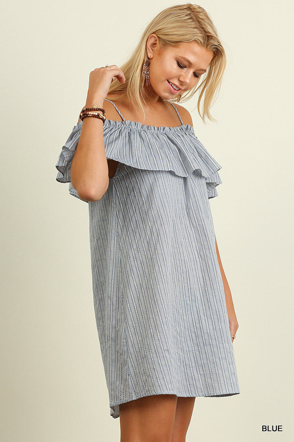 Striped Off the Shoulder Ruffle Dress - Thread Affair