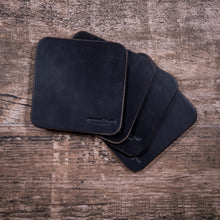 Leather Coasters | Black Horween Chromexcel