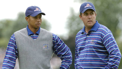 Tiger Woods and Phil Mickelson at the 2004 Ryder Cup