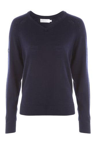 Women's Amy Merino V-Neck Sweater-Navy Only - ProQuip Golf USA - Golf Apparel, Women's Amy Merino V-Neck Sweater-Navy Only - Rain& Wind Gear