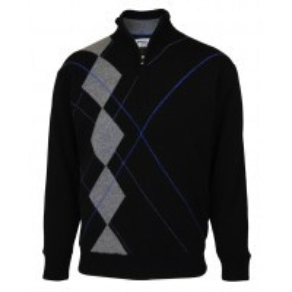 Men's Half-Zip Lambswool Intarsia Lined Sweater - ProQuip Golf USA - Golf Apparel, Men's Half-Zip Lambswool Intarsia Lined Sweater - Rain& Wind Gear