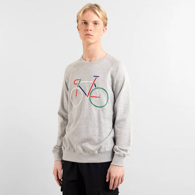 DEDICATED Malmoe Sweatshirt Color Bike • Grey Melange