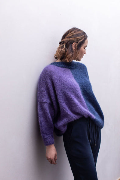 MADE BY VEST Mira Sweater • Marine/Purple • S