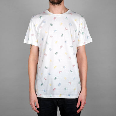 DEDICATED Stockholm Bike Pattern T-shirt • White
