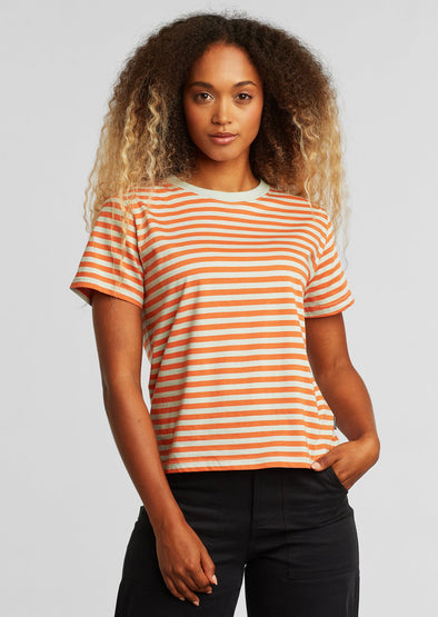 DEDICATED Mysen T-shirt • Stripes Orange