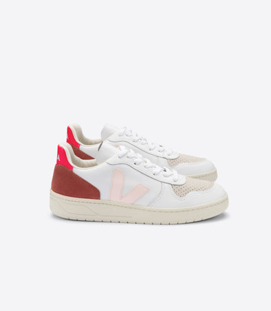 VEJA V-10 • Leather Extra White Petale Rose Fluo