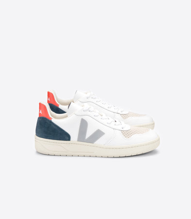 VEJA V-10 • Leather Extra White Oxford Grey Orange Fluo