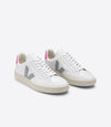 VEJA V-12 • Leather Extra White Oxford Grey Sari