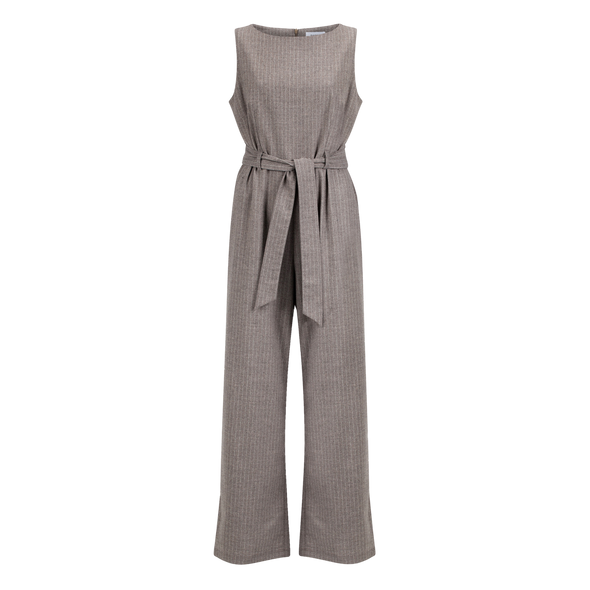RHUMAA Memory Wool Jumpsuit • Wool Pinestripe