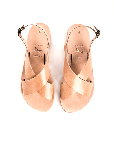 NULLA NOMEN Cross Strap Wide Sandal • Natural