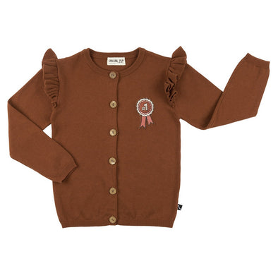 Harvestclub-Harvest-Club-Leuven-carlijnq-rosette-ruffled-cardigan-embroidery-brown
