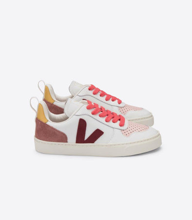 VEJA x BONTON Junior Esplar • Small V-10 Lace Extra White Marsala Rose-Fluo