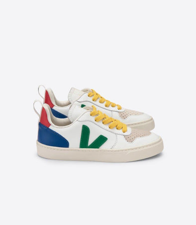 VEJA x BONTON Junior Esplar • Small V-10 Lace Extra White Emeraude Gold-Yellow