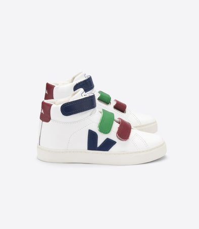 VEJA Junior Esplar • Mid Small Velcro Leather Extra White Multico Cobalt