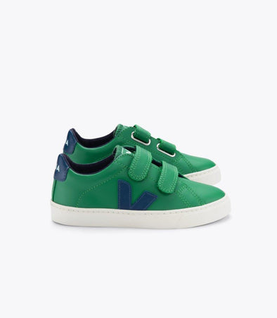 VEJA Junior Esplar •  Small Velcro Leather Emeraude Cobalt
