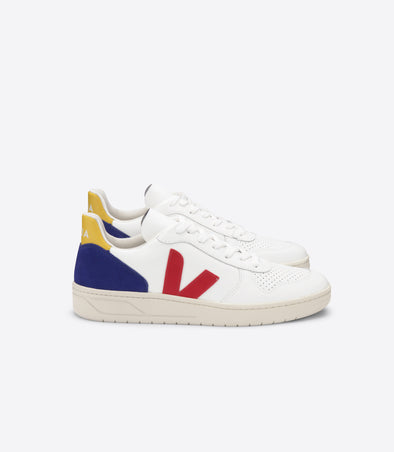 VEJA V-10 • Leather Extra White Pekin Cobalt Gold Yellow