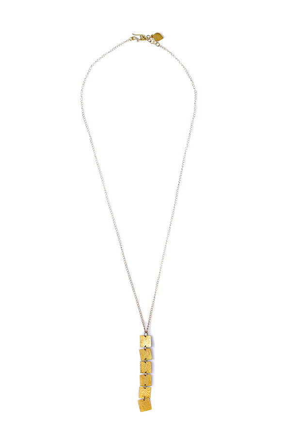 PEOPLE TREE Square Drop Necklace • Brass