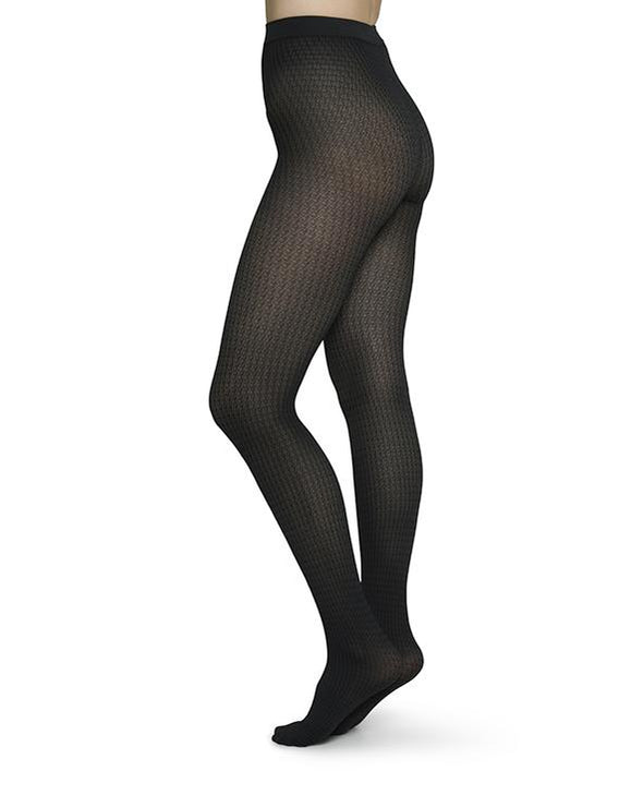 SWEDISH STOCKINGS Agnes Houndstooth Tights • Black/Grey 60den