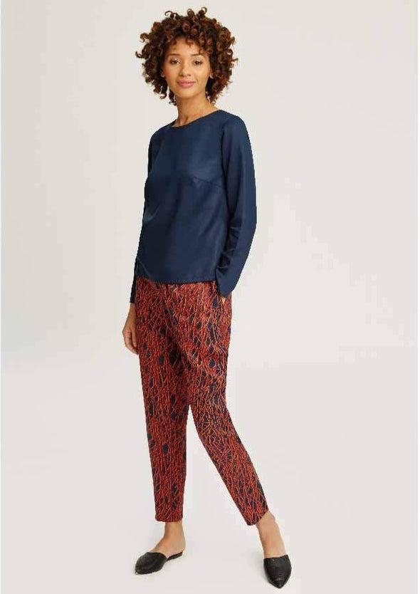 People Tree Dogwood Trousers • Navy Red