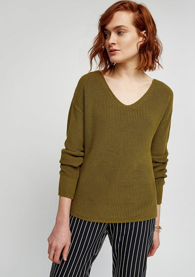 PEOPLE TREE Antonia Rib Jumper • Khaki