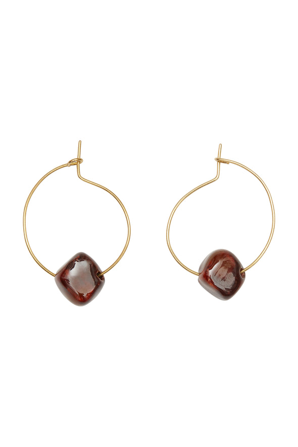 PEOPLE TREE Bead and hoop earrings • Brass 458