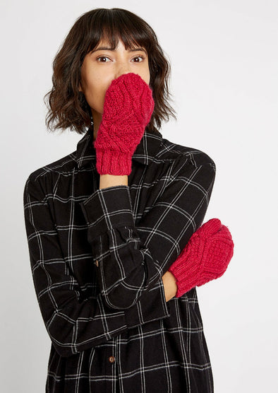 People Tree Cable Mittens • Pink