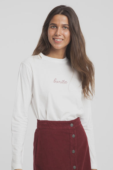 THINKING MU Bonita Embroidery T-Shirt Longsleeve • Snow White
