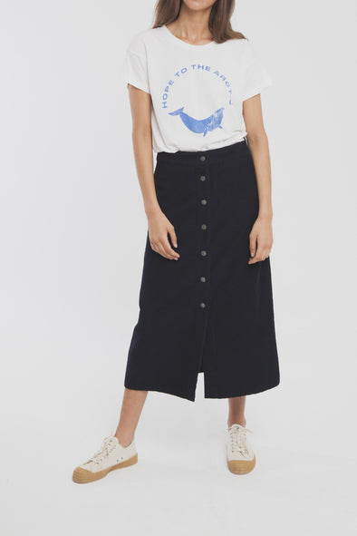 THINKING MU Corduroy Long Skirt • Blue