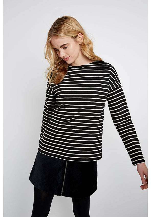 PEOPLE TREE Carol Stripe Top  •  Black and Ecru Cream