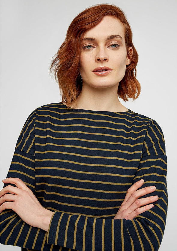 PEOPLE TREE Carol Stripe Top  •  Olive Green and Navy