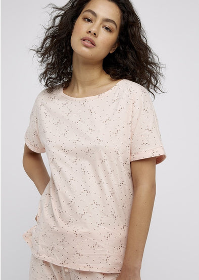 PEOPLE TREE  cat print short sleeve top•pink