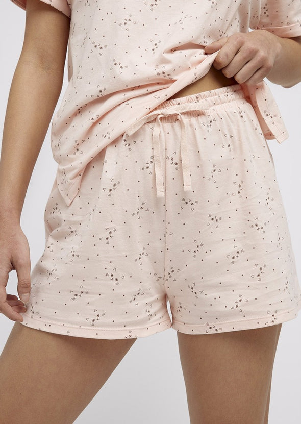 PEOPLE TREE  cat print shorts •pink