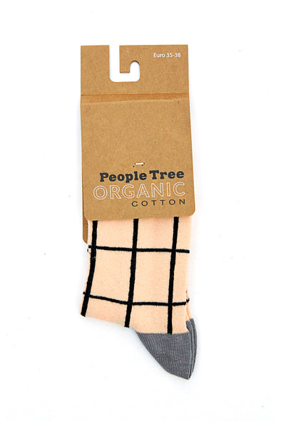 PEOPLE TREE Checked Socks • Pale pink