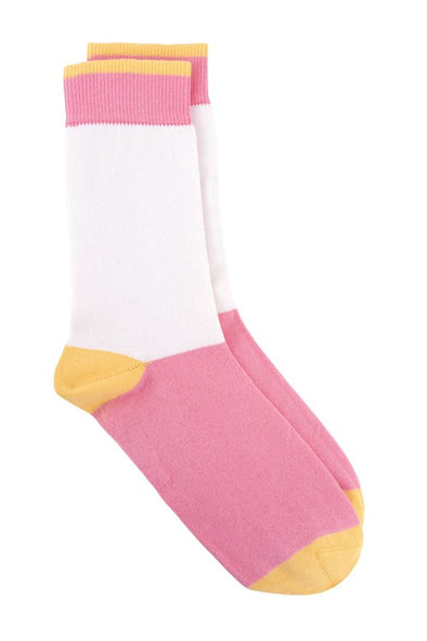 PEOPLE TREE Colourblock Socks • Pink
