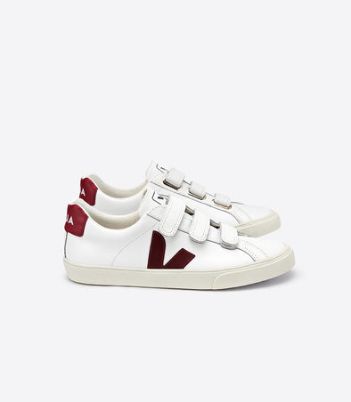 VEJA 3 Locks • Leather Extra White Marsala